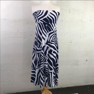 Lularoe Navy Blue/White Swirl Print Maxi Skirt M
